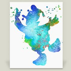 Donald Duck silhouette watercolor painting childrens wall art Art Print by rossstudio on BoomBoomPrints. Perfect wall decor for your baby room, nursery, or kids room. These works were designed for baby room ideas and as artwork that both children and parents can enjoy. This image can be used as bedroom wall art, playroom decoration, or nursery decor.