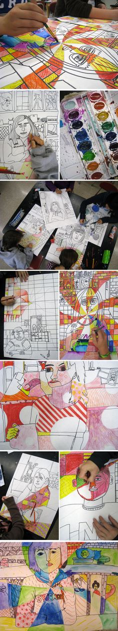 I absolutely *love* contour drawing.  It really forces my students to draw from their heart.  They used one contiuous line to draw their partner as well as the background.  Everything in the background is actually in my classroom.  These drawings are so whimsical and full of life.  Enjoy!  From Freckle Photo blog.