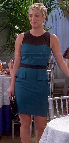 Penny's teal peplum dress on The Big Bang Theory.  Outfit Details: http://wornontv.net/40774/ #TheBigBangTheory