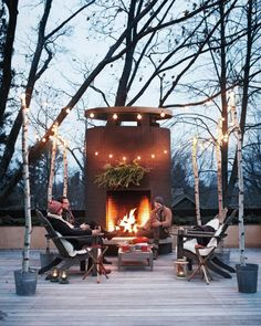 Here are some of the best ideas for outdoor lighting that bring magic into the 84 … - Best Garden Decoration Trends Outdoor Rooms, Outdoor Gardens, Outdoor Decor, Rustic Outdoor, Outdoor Ideas, Porches, Metal Fireplace, Fireplace Ideas, Open Fireplace