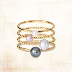 Our pearl rings boast subtle yet eye-catching hues. We have Lunar White, London Mist, Dusty Pink and Pirate Black pearls available in different sizes and bands. Beautiful rings for a simple yet chic look. Find them at www.phoebecoleman.com