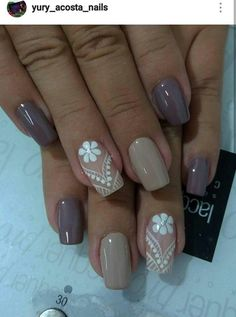 37 cute spring nail art designs to spruce up your next mani 041 Cute Spring Nails, Spring Nail Art, Ongles Beiges, Taupe Nails, Beautiful Nail Designs, Square Nails, Stylish Nails, Flower Nails, Nail Manicure