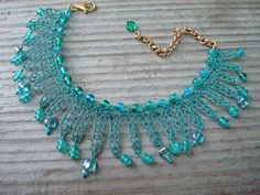 Crocheted Wire Bracelet Modern Charm Bracelet by dragonswire