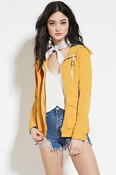 Hooded Snap-Button Jacket
