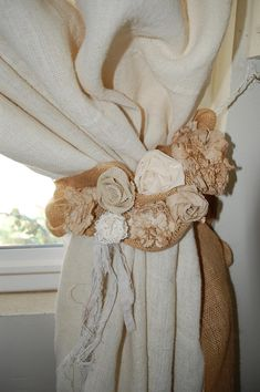 Items similar to Curtain tie back with burlap and linen rosettes on Etsy Burlap Drapes, Lace Curtains, Window Coverings, Window Treatments, Curtain Tie Backs, French Country Decorating, Room Colors, Rosettes, Fun Projects