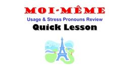 This is a quick lesson to teach phrases Moi-meme, Toi-meme, etc  ZIP file includes a PPT, student notes and practice worksheet.  This lesson walks students through understanding the concept in English so that they can better understand this concept in French.