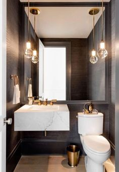 The powder room is a half bathroom traditionally just off of the entryway for guests. Take a look at these awesome powder room ides & designs. Modern Toilet, Modern Bathroom, Small Bathroom, Bathroom Black, Minimalist Bathroom, Rental Bathroom, Tropical Bathroom, Budget Bathroom, Bathroom Cleaning