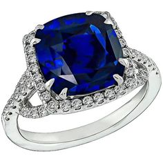 Preowned Natural 5.16 Carat Cushion Cut Sapphire Diamond Gold Ring (€17.830) ❤ liked on Polyvore featuring jewelry, rings, blue, blue sapphire ring, 14k gold ring, sapphire diamond ring, 14 karat gold ring and blue diamond ring