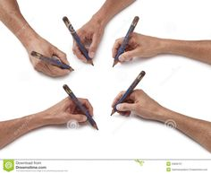 generation of hands  pencil sketch | series of hands holding pencils on a white background