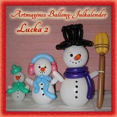 Artmagines Ballong-Julkalender Lucka 2: Frostiga snögubbar helt utan snö, men med ballonger istället. Vi gör en ny ballong-kreation varje dag fram till jul!