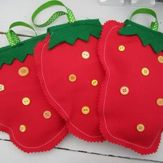 Product   Strawberrys (button seeds)   Henry, Oscar and Me Handmade Crafts, Seeds, Christmas Ornaments, Button, Holiday Decor, Beautiful, Home Decor, Decoration Home, Room Decor
