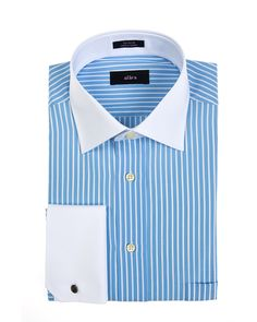 295f05ba2b8 Alara White Collar Regular Fit Dress Shirt With French Cuffs And Blue  Stripes Egyptian Cotton