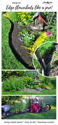 How To Edge Flowerbeds Like A Pro! All you need are a few simple tools. This method is easy and the results stunning! No more broken plastic edging! By Funky Junk Interiors Easy Garden, Lawn And Garden, Garden Beds, Garden Cottage, Garden Tools, Home Landscaping, Landscaping With Rocks, Front Yard Landscaping, Flower Bed Edging