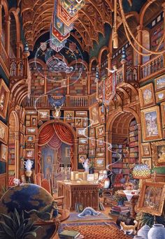 wizard spangler computer library fantasy randal wall wizards jigsaw puzzles books room dragon libraries artwork bedroom mural places randalspangler pencil