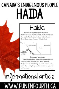 Haida: Indigenous (First Nations, Aboriginal) Cultures Informational Article Elementary Education Activities, Teaching Activities, School Resources, Educational Activities, Teaching Resources, Classroom Resources, Classroom Ideas, Teaching Ideas, Social Studies Classroom
