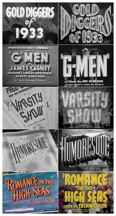 Warner Bros. trailer typography (1930-1954) and movie titles