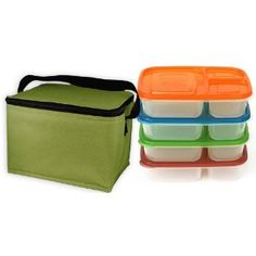 EasyLunchboxes 3-compartment Bento Containers (Set of 4) with insulated, non-vinyl Lunch Cooler Bag, Olive  $21.90