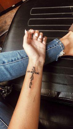 Cute Tiny Tattoos, Dainty Tattoos, Little Tattoos, Small Tattoos, Cute Wrist Tattoos, Inner Wrist Tattoos, Pretty Cross Tattoo, Cross Tattoo On Wrist, Pretty Tattoos For Women