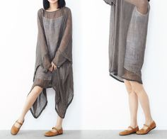 199---Linen Gauze Gray Dress / Tunic / Shirt, (Excluding the inner Slip), Plus Size, Maternity, Gray Linen Clothing, One Size Fits All. by EDOA on Etsy https://www.etsy.com/listing/196164066/199-linen-gauze-gray-dress-tunic-shirt
