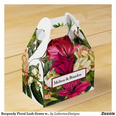Burgundy Floral Lush Green with Gold Wedding Party Favor Box Wedding Favor Boxes, Wedding Party Favors, Wedding Ideas, Green Party, Lush Green, Accent Colors, Gold Wedding, Burgundy, Gift Wrapping
