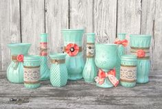 Hey, I found this really awesome Etsy listing at https://www.etsy.com/listing/214594429/mint-and-coral-shabby-chic-vase-set-of