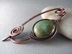 Wire Shawl Pin Copper Wedgwood Scarf Sweater Pin by PolymerPlayin, $22.00