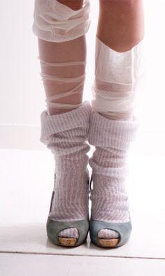layers of socks with high heels -- #shooz #sox