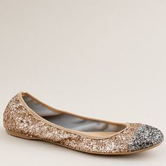 Lula glitter ballet flats from J. Crew Fall 2011.  Love rosy gold for fall, and of course it's glitter.  Come on.  $135 #jcrew #flats