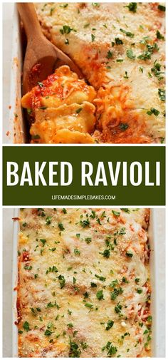 This baked ravioli is a dish even the kids will love! You can assemble it ahead of time and refrigerate it, then bake it right before dinner!