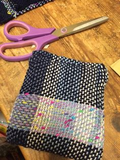 Little handwoven purse with lining. Scraps of yarn made quite a nice pattern