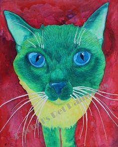 Custom Pet Portrait Watercolor Painting 8 x by rachelspetpaintings