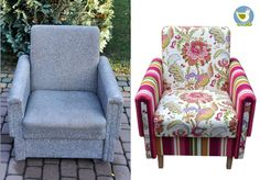 Easy chair, vintage armchair before and after renovation.    Handmade by Rekoko.    Visit: www.rekoko.pl https://www.facebook.com/justynamagierrekoko/