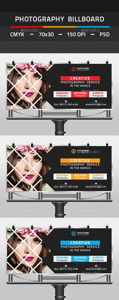 Photography Billboard by tauhid1989 This is a Photography Billboard Template. This template download contains 150 DPI, Print-Ready, CMYK, Layerd PSD files. All main e