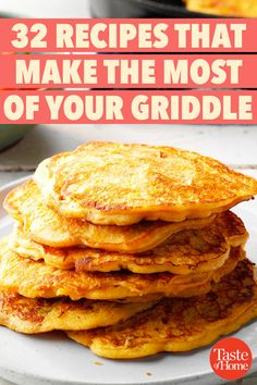32 Recipes That Make the Most of Your Griddle Your griddle isn't just for breakfast, though it definitely shines when it comes to pancakes! Check out our favorite griddle recipes from flapjacks to grilled cheese to tasty twists on French toast. Hibachi Recipes, Grilling Recipes, Cooking Recipes, Vegetarian Grilling, Healthy Grilling, Barbecue Recipes, Noodle Recipes, Barbecue Sauce, Vegetarian Food