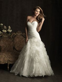 2012 Allure Bridal - White Ruched & Ruffled Organza Strapless Sweetheart Drop Waist Wedding Gown