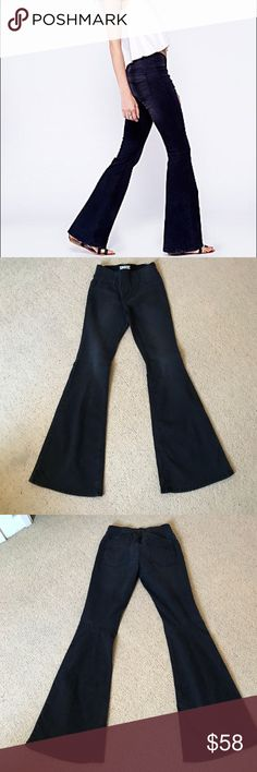 "Free People Pull On Kick Flare Used once! 34"" inseam. ""Darkest Black"" Free People Jeans Flare & Wide Leg"