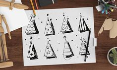 Fun Party Hats Kids Activity Coloring Sheets 5 Designs A3 A4