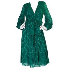A/W 1973 Christian Dior Haute Couture Green Silk Chiffon Dress | From a collection of rare vintage evening dresses and gowns at https://www.1stdibs.com/fashion/clothing/evening-dresses/