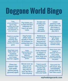"""Shamontiel wrote """"Doggone World Bingo: Enjoy your dog adventures ~ The Bingo game that will make your dog mishaps more fun"""" #dogowner #dogmom #dogdad #puppy #boardgames #familygames #ChristmasGames #MerryChristmas (Photo credit: My Free Bingo Cards)"""