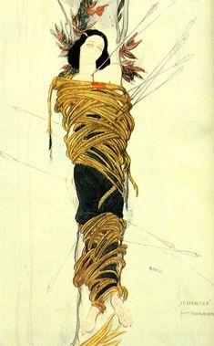 Leon Baskt, costume sketche for Ida Rubinstein, Le Martyr de Saint Sebastien, 1911