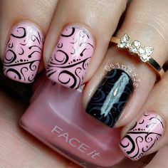 Intricate swirls are stamped on to the nails which created an elegant nail art. Find out what products were used and DIY this manicure.