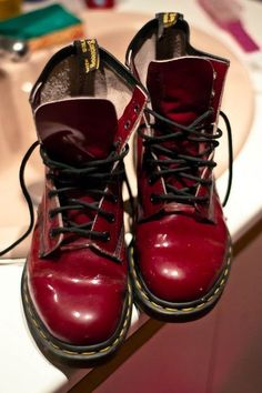 Cherry Doc Martens. The 90s called... and they are amazing. Www.tamsineb.com [love love love!]
