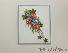 Homemade Quilling Greeting Card for Her with by TipTopArtShop