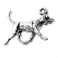 "Sterling Silver 18"" Box Chain Necklace With 3D American Foxhound Walking Dog Charm Pendant"