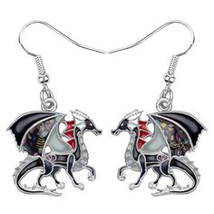 Fantasy Dragon Drop Dangle Unique Animal Jewelry Nickel Free Earrings, Drop Earrings, Thing 1, Fantasy Dragon, Unique Animals, Animal Jewelry, Types Of Metal, Weird Products, Dangles