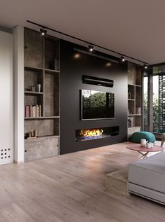Modern and attractive TV wall design. kamin Modern and attractive TV wall design. Fireplace Tv Wall, Living Room With Fireplace, Fireplace Design, Wall Fireplaces, Linear Fireplace, Basement Fireplace, Ethanol Fireplace, Modern Fireplaces, Black Fireplace