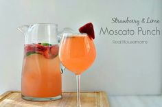 Strawberry & Lime Moscato Punch http://www.realhousemoms.com/strawberry-lime-moscato-punch/