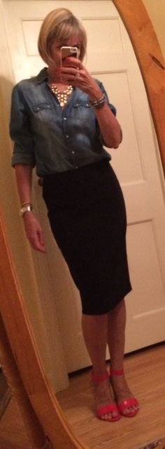 Black pencil skirt with denim shirt. Dressing over fifty