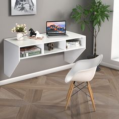 With stable structure and large weight capacity, the desk is ideal to place your computer and other things. Besides, there are also three large capacity compartments below desktop to offer your other storage space for your sundries Living Room Office, Furniture Design, Wall Mounted Desk, Computer Table, Storage Shelves, Desk, Storage Spaces, Shelves, Desk Storage