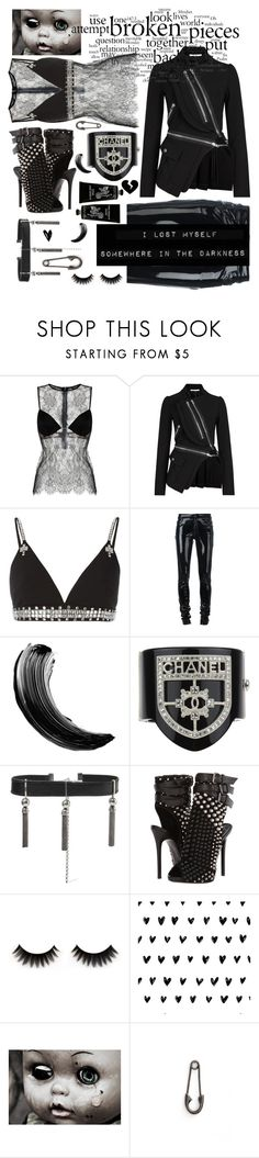 """Darkness my old friend"" by sunnydays4everkh ❤ liked on Polyvore featuring Givenchy, Anthony Vaccarello, Chanel, Sophie Buhai, Giuseppe Zanotti, Julien David and TokyoMilk"